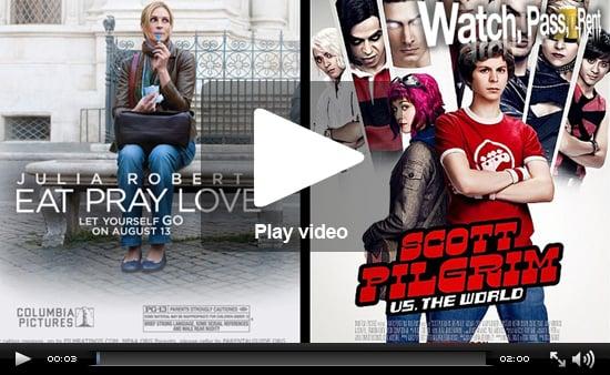 Video Movie Reviews For Eat Pray Love and Scott Pilgrim vs. the World