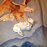 """Dog lay just right on my new blanket."" Source: Reddit user undonk2013 via Imgur"