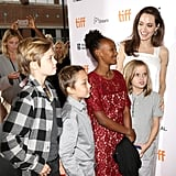 Angelina Jolie and Shiloh, Knox, Zahara, and Vivienne Jolie-Pitt
