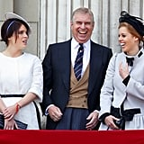Andrew giggled with his girls on the balcony of Buckingham Palace during Trooping the Colour in 2013.