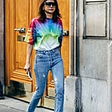 TA tie-dye tee and jeans becomes a real look with the right footwear.