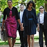 Michelle walked with older daughter Malia Obama after Easter church services in Washington DC. She wore a gorgeous pixelated jacquard dress by Thakoon.