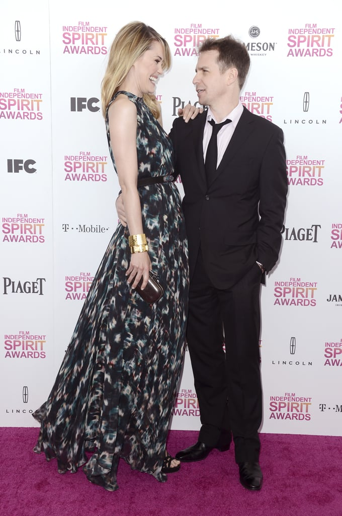 Leslie Bibb and Sam Rockwell on the red carpet at the Spirit Award 2013.