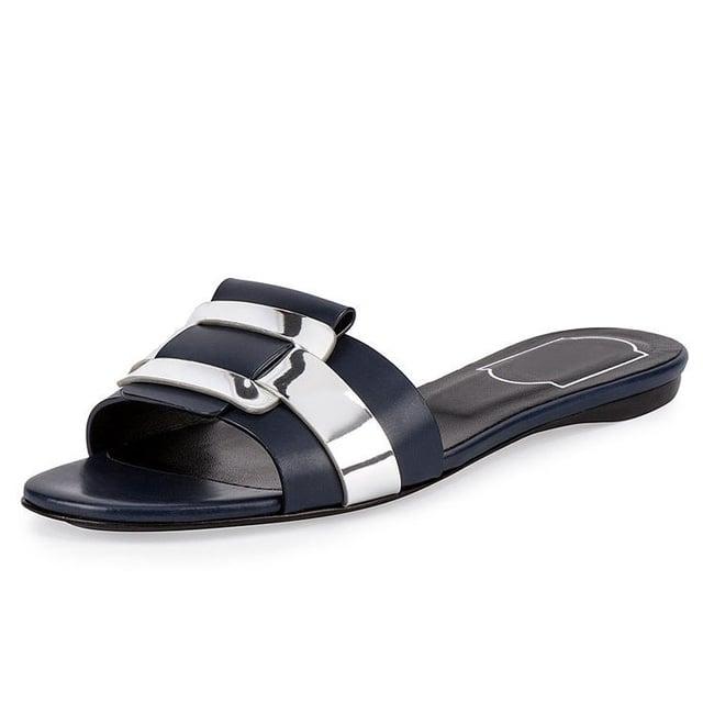 Roger Vivier 'Pilgrim Jour' Leather Flat Slide Sandal ($625)