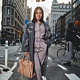 On Editor Sarah Wasilak: Rebecca Taylor coat and jumpsuit, Dolce Vita boots, and Balenciaga bag.