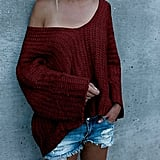 Beautife V-Neck Off-the-Shoulder Sweater