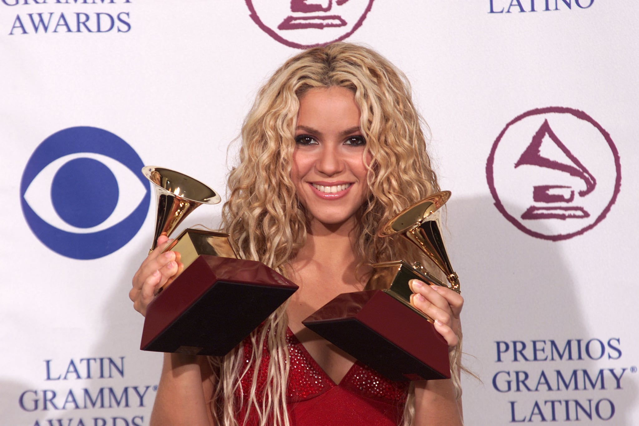 Shakira poses with the two awards she won at the 1st Annual Latin Grammy Awards broadcast on Wednesday, September 13, 2000 at the Staples Center in Los Angeles, CA. Photo credit: Scott Gries/ImageDirect