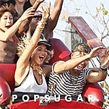 Beyonce let loose on a roller coaster in NYC.