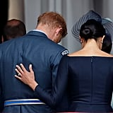 Meghan Markle and Prince Harry Hands on Each Other's Backs