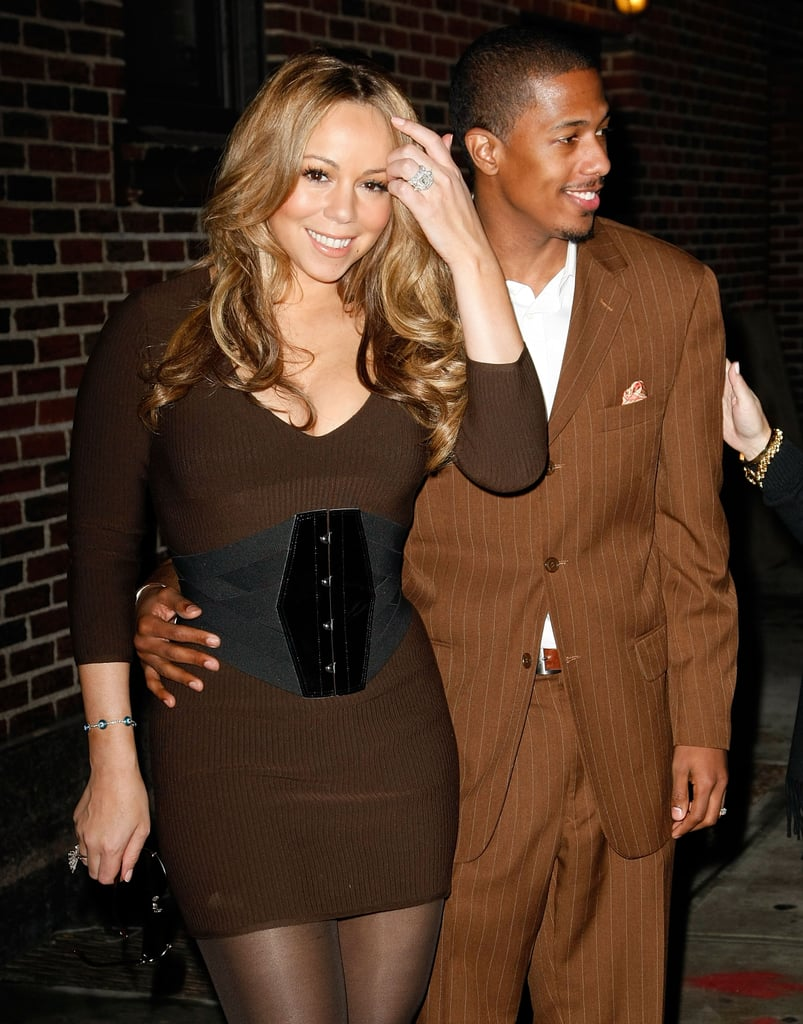 Mariah Carey and Nick Cannon brought their best brown outfits to Late Show With David Letterman in NYC in November 2009.