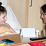 Kate Middleton visited with a young patient.