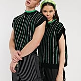 COLLUSION Unisex Text Detail Sweater Vest in Black