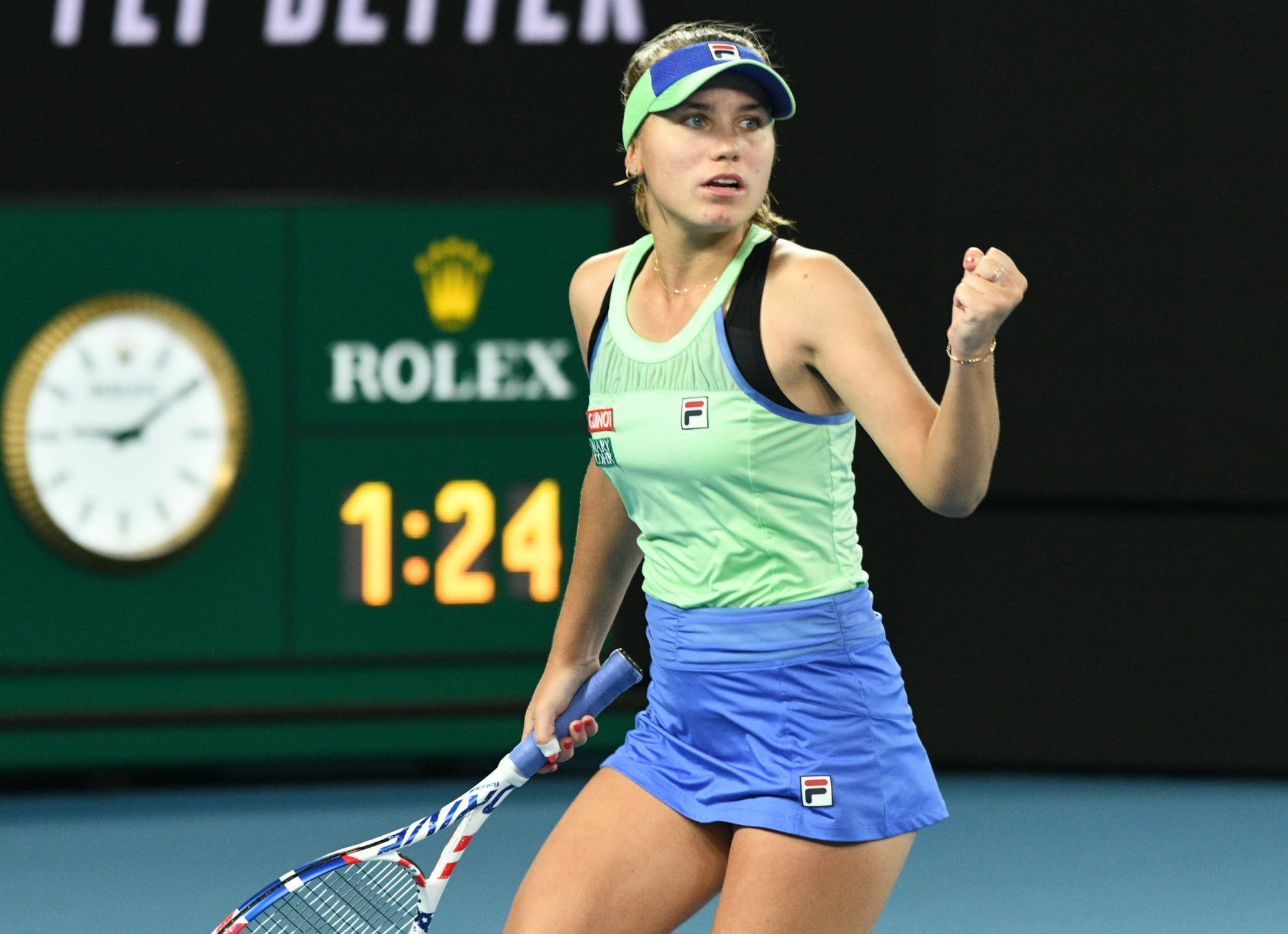 MELBOURNE, AUSTRALIA - FEBRUARY 01: The U.S.A Sofia Kenin wins the 2020 Australian Open after beating Garbine Muguruza (not seen) of Spain 2-1 to claim the first grand slam title in her career in Melbourne, Australia on February 01, 2020. (Photo by Recep Sakar/Anadolu Agency via Getty Images)