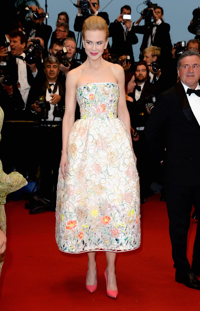 To catch The Great Gatsby, Nicole picked an embroidered Dior Haute Couture organza style and bright pink heels (also Dior).