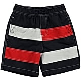 Red-and-White Colorblock Swim Trunk