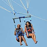 Rihanna up on a parasail.