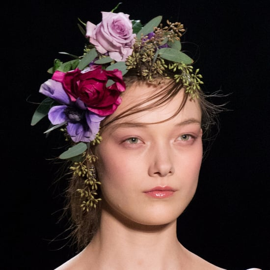 Marchesa Flowers Sewn Hair New York Fashion Week Autumn 2017