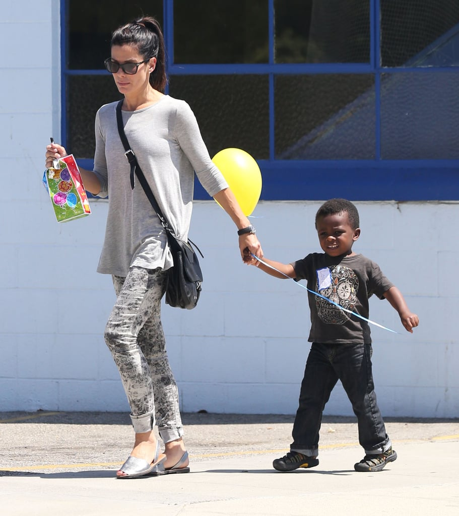 Sandra Bullock and her son, Louis, went to a birthday party in LA.