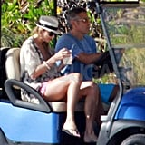 George Clooney and Stacy Keibler traveled by golf cart in Cabo.