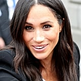 Meghan Markle's Simple Middle Part and Soft Bends, 2018