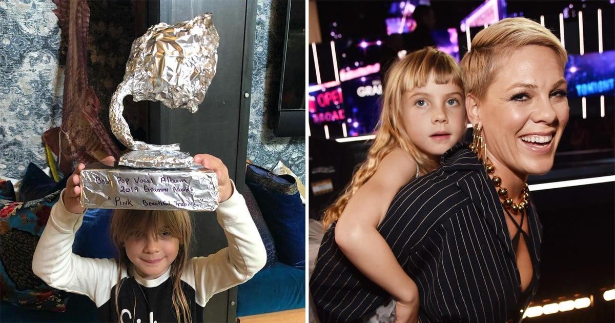 Pink Didn't Win a Grammy This Year, So Her Kids Made Her an Award Out of Tinfoil