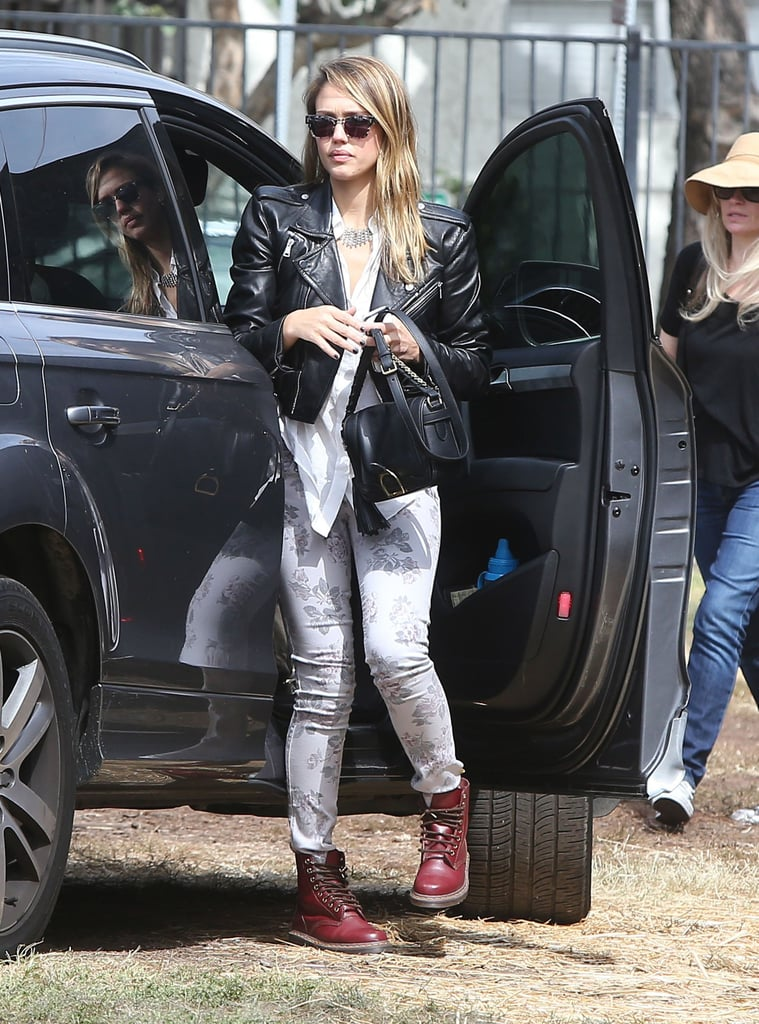 Jessica took on the '90s grunge trend in a studded Simone leather jacket, printed Current/Elliott denim, and oxblood Dr. Martens at Mr. Bones Pumpkin Patch in West Hollywood.