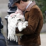 Brad Pitt With Baby on the Set of Five Seconds of Silence