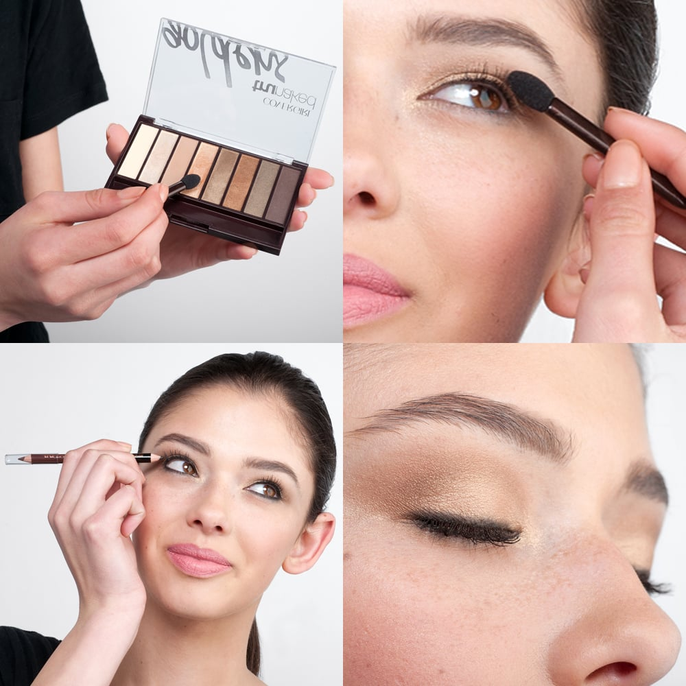 First, apply eye shadow using a gold palette with easily blendable shades. Wetting your brush before dipping it into the shadow will increase the color payoff and allow for highly pigmented hues. Concentrate the dark brown shade on the crease of your lid, followed by the bronze shade blended on the center of the lid, and finish with the light gold shade on the inner corners. Then, line the upper and bottom lash line with a creamy black eyeliner for a subtly smoky effect.