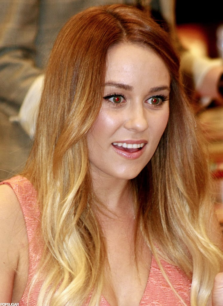 Lauren Conrad wore a peach dress.