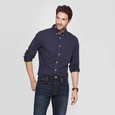 Slim Fit Long Sleeve Poplin Button-Down Shirt
