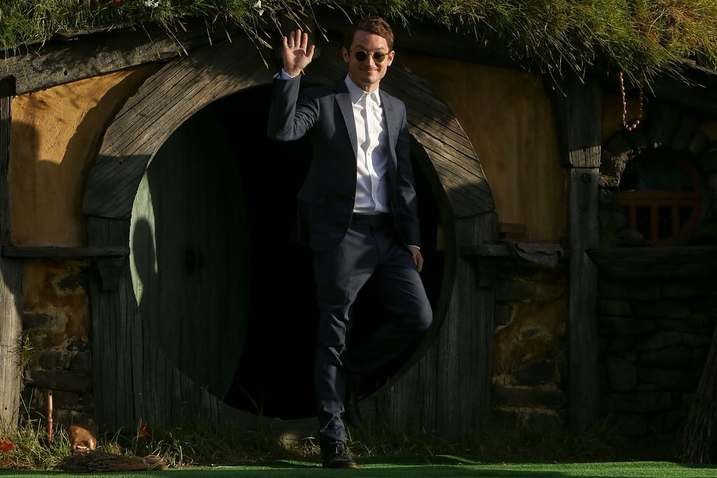 Elijah Wood made his entrance via a Hobbit house at the world premiere of his new film, The Hobbit: An Unexpected Journey, in New Zealand on November 28.