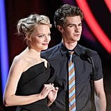 Emma Stone and Andrew Garfield posed together at the MTV Movie Awards.