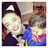 Miranda Kerr dressed up as a cat, while her son Flynn went as Superman. Source: Instagram user MirandaKerr