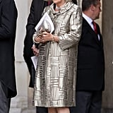 Camilla shimmered in a Bruce Oldfield dress and coat.