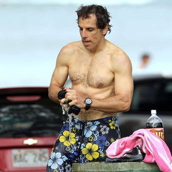 Ben Stiller Shirtless Surfing Pictures in Hawaii