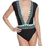 Trina Turk Plunging One-Piece Swimsuit w/ Contrast Trim