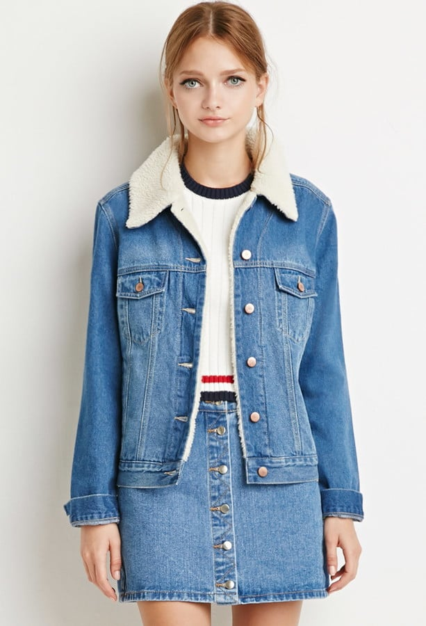 Forever 21 Faux Shearling Denim Jacket