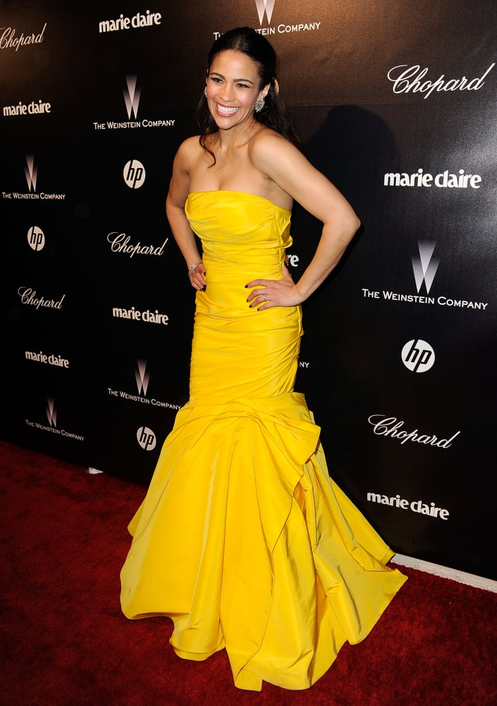 Paula Patton brought her yellow Monique Lhuillier dress to the Weinstein Company's after party.