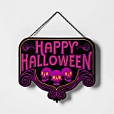 Lit Happy Halloween Hanging Sign