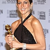 Jennifer posed with her Golden Globe award in 2003.