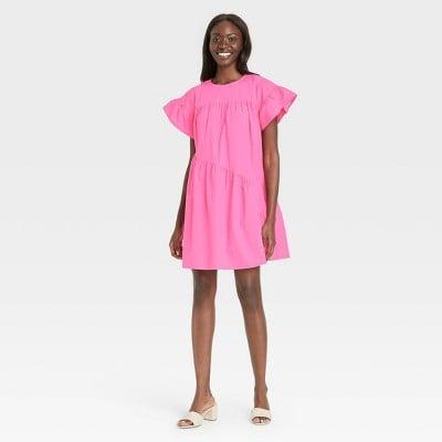 Pop of Pink: Who What Wear Ruffle Short Sleeve Dress