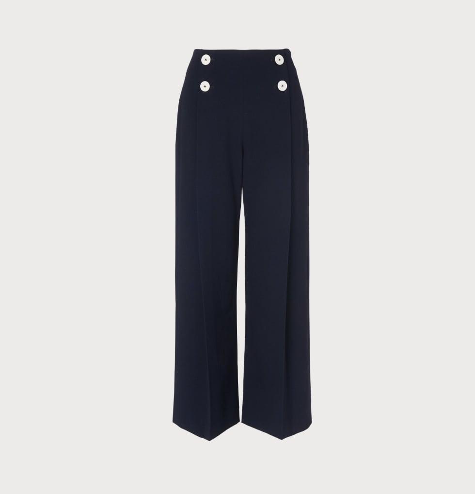 L.K. Bennett Parker Navy Wide-Leg Trousers