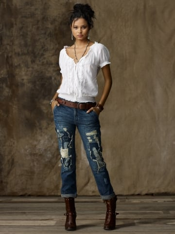 Contrast these patchwork jeans with a sleek blazer for chic rugged appeal.  Distressed Carpenter Jeans ($225)