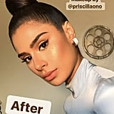 Her makeup looks so glowing and gorgeous thanks to Killawatt Freestyle Highlighter in Hu$tla Baby, a super-charged peachy champagne shimmer.