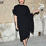 Selma Blair juxtaposed a dramatic red lip against her Margiela for H&M asymmetrical LBD.