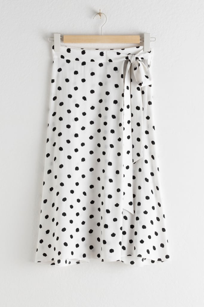 & Other Stories Belted Polka-Dot Midi Skirt
