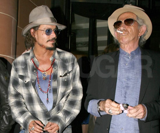 Slide Picture of Johnny Depp and Keith Richards Leaving Dinner in London