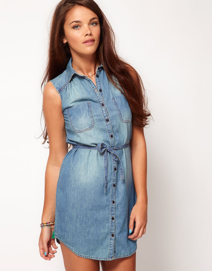 This denim dress is perfect with neon sandals for a picnic in the park.  River Island Sleeveless Denim Dress ($45)