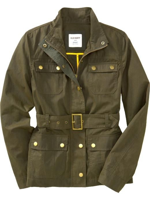 A staple piece to throw over brighter sweaters, mixed prints, and floral dresses; with anything it lends that prep-school appeal.   Old Navy Women's Belted Military Stye Jacket ($50)