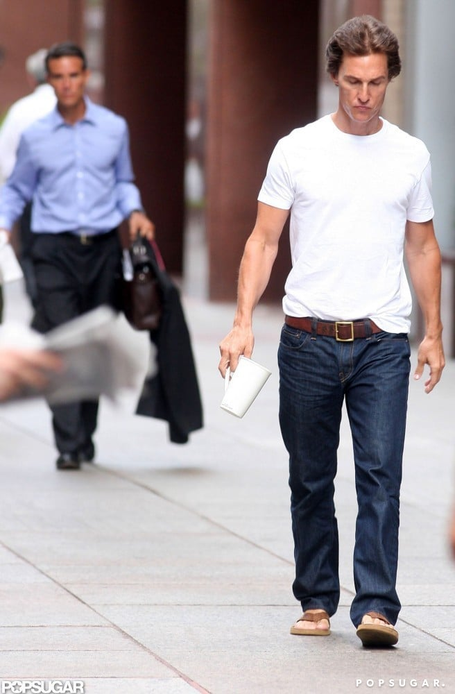 Matthew McConaughey headed to set.